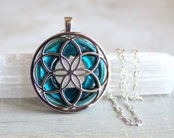 blue seed of life necklace, sacred geometry, spiritual jewelry, meditation jewelry, chakra necklace, yoga jewelry, unique gift