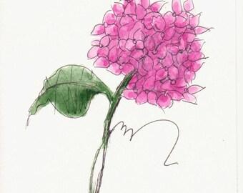 Pink Hydrangeas Original Watercolor Art Painting Pen and Ink Watercolor Hand Painted Flower