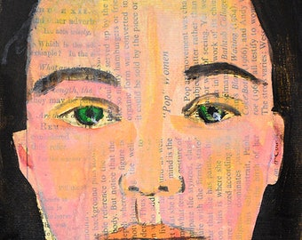 Book Page Wall Art Prints. Planes of the Face. Woman Apartment Decor. Art Gift for Her Home. Woman Portrait Painting Print.