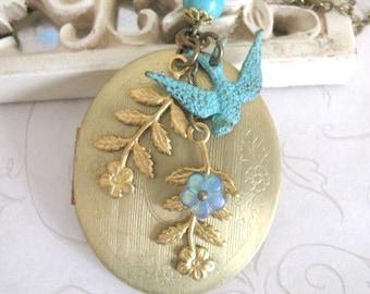 Long locket necklace, vintage brass oval locket, wedding gift, bride gift, bird charm, designer necklace, Botanical Bird original design