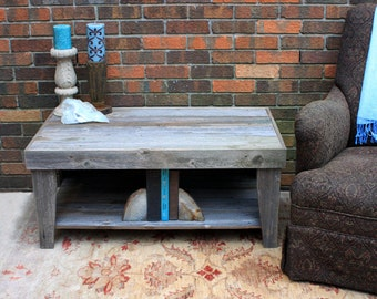 "Rustic Coffee Table w/ Shelf. Grey Wood Coffee Table w/ Shelf, Reclaimed Wood Coffee Table. 39""l x 22""w x 17""t. Natural Finish"