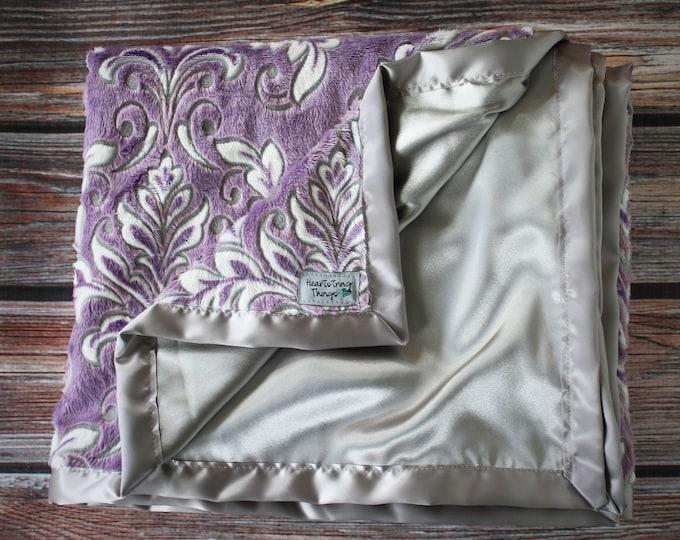 Minky Blanket. Tween Minky Quilt, Lap Minky, Purple Minky, Grey Minky, Soft Minky, Satin Blanket,  Adult Minky, Purple, satin blanket