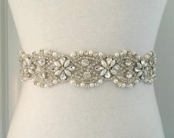 "Pearl Sash-Wedding Sash-Rhinestone Sash-Bridal Sash-Crystal Belt-Wedding Belt-Crystal Sash-1.7"" Wide & 16.5"" Long Floral Rhinestones Pearls"