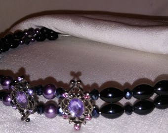 Subdued Bling. Browband for Horse Bridle. Purple Crystal, Black Pearls. Bling English or Dressage Browband Or For Western Headstall, Tack