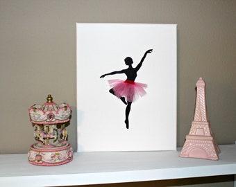 Dancing ballerina painting. Wall art. Room decor for her. Dancer painting. Handmade canvas. Baby shower gift. Baby girl art.