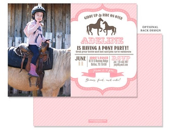 Pink Vintage Pony & Horses Birthday Party Photo Invitation - Western invitation - 2 sided design