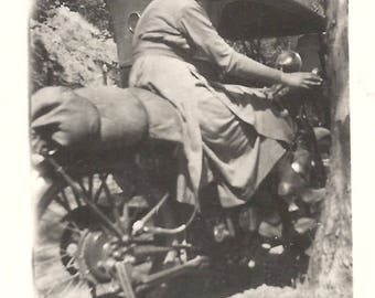 """Vintage Snapshot """"Motorcycle Mama"""" Pretty Girl On Motorcycle 1920's Found Vernacular Photo"""