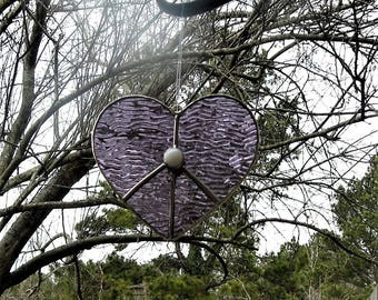 Stained Glass Lavender Peace Heart with Glass Nugget