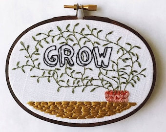 Grow • Oval Embroidery Hoop Wall Art with Potted Vines • Plant Lady gift • Plant Mom Home Decor