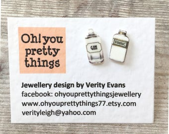 Gin earrings - Gin and tonic - Stud earrings - Quirky earrings - Gin jewellery - Gin gift - Gin lover - Gift for her - Gin bottle