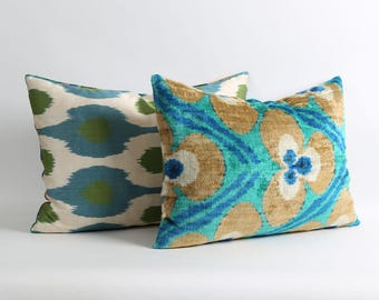 ikat velvet pillow cover with silk ikat backing 16x22 Handwoven & hand-dyed green, blue and brown lumbar decorative pillow