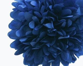 Navy Blue Tissue Paper Pom, Navy Pom, Navy Tissue Paper Pom Pom, Dark Blue Pom, Tissue Flower, Wedding and Birthday Party Decor, Poms