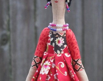 Frida Kahlo doll art doll rag doll fabric doll Mexican doll unique gift for Frida Kahlo lovers collectible doll Mexican artist painter doll