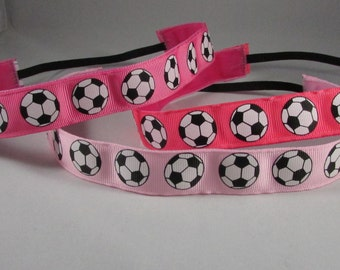 EmBands - Non-Slip Headband; Soccer Balls Headband; Sports Headband; Running Headband - Pink, Hot Pink, and Coral/Pink