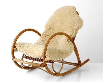 Schaukelstuhl Vintage bamboo chair etsy