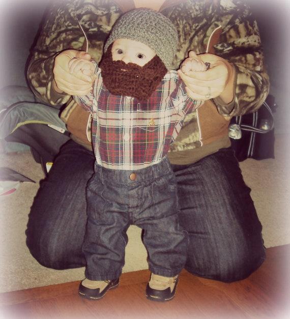 Baby Beard Beanie, Baby Beard Hat, Infant Beard Hat, Infant Beard Beanie, Toddler Beard Hat, Gray Hat With Beard, Lumberjack Toy, Christmas