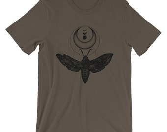 Moth Shirt, Crescent Moon Short-Sleeve Unisex Graphic Tee, Witchy Aesthetic T-Shirt, Insect Clothing