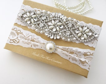 Ivory Wedding Garter Set, Bridal Garter Set, Stretch Lace Garter, Crystal Pearl Garter Set, Vintage Garter, Wedding Garter Belt, Garter Set