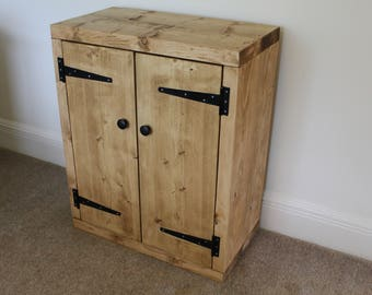 Handcrafted rustic chunky wooden cupboard ,cabinet, fish tank stand in light oak wax finish