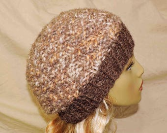 Hand Knit Beanie In Hues of Muted Browns Peach and White