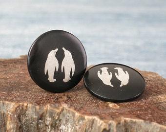 Vintage Penguin Earrings HH Danish Originals - Ebony Black Disc Clip Earrings with Silver Penguin - Inlaid Penguin Denmark Clip-on Earrings