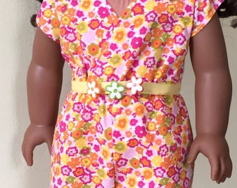Fits American Girl, 18 inch doll:  romper with acessories