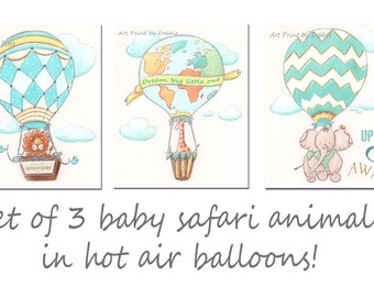 Travel Quote Art, Hot Air Balloon Wall Decor, Up Up and Away, Adventure Nursery Decor, Set Of 3, Lion Giraffe Elephant, 6 sizes 5x7 to 24x36