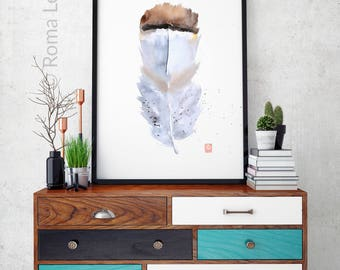 White Feather Watercolor print Modern drawing Wall art Original watercolor painting Bird feather illustration Home wall decor printable art