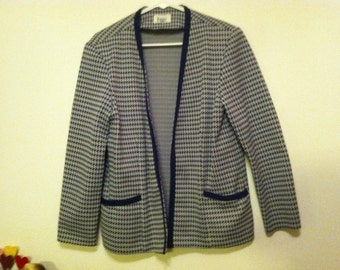 Women's navy blue houndstooth vintage polyester blazer with cc style trim size large lg