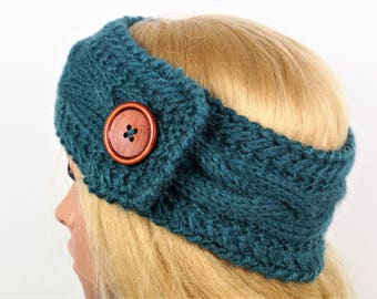 Green ear warmer, Knitting Winter Headband ,Knit and Crochet Headband, Ear Warmer,Brown Headband,Crochet Headband,Knit Turban Headband