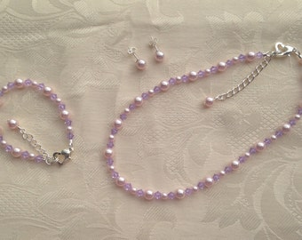 Flower Girl Jewelry Pink and Violet Swarovski Pearls Crystals Bridal Jewelry Set