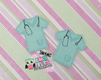 Set of 4 Scrubs Top Feltie, Felt Appliques, Felt Embelishment, Set of 4
