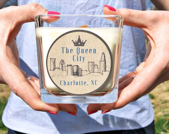 Queen City Candle | Glass Jar Candle | Wood Wick Candle | All Natural Soy | Coriander and Tonka Bean | Neighborhood Candle | Charlotte NC