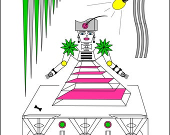 Robot Fashion Show A Geometrical Coloring Book Experience PDF Digital Download Futuristic Sci Fi