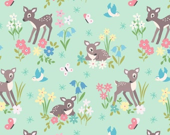 Designer cotton fabric Little deer on mint