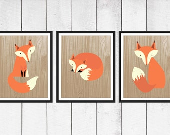 Fox Nursery Decor - 3 Piece set - Fox Print Trio on Faux Wood Background