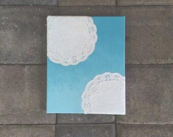 Ombre Blue Doily Canvas