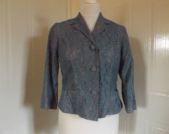 vintage 1950s blue lace over satin jacket blazer small 8 10