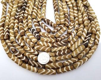 16 Brown With Natural White Chevron Bone Beads, Tube Beads 24MM (H2456)