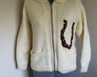 Vintage 1960's Cowichan Sweater With Horse on Back
