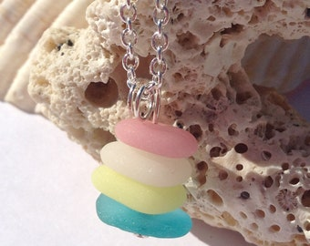 Baltic Sea Glass Stacker Necklace, Authentic Sea Glass, Milk Glass Sea Glass