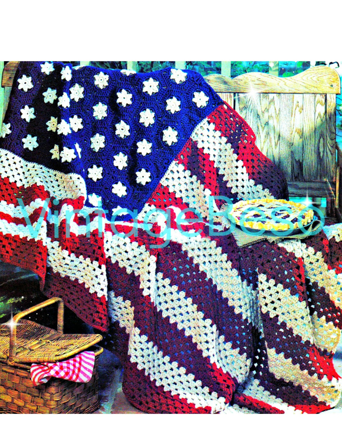 Instant Download • PDF • American Flag • EASY Afghan Crochet Pattern