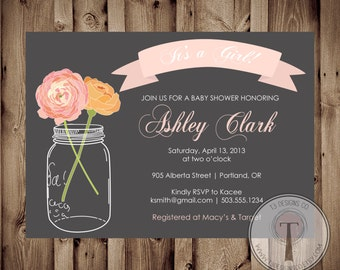 BABY GIRL Baby Shower Invitation, baby shower invite, mason jar baby shower, mason jar, flowers, baby,pink, front and back, 1013