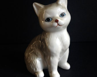 Cat Figurine with Blue Eyes