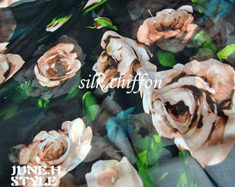 Black 100% Silk Chiffon Fabric With Big Floral Print Fabric By the Yard