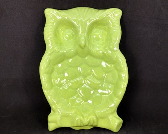 Ceramic Owl Dish - Lime Green Glaze - Owl Spoon Rest - Handmade - Ready to Ship