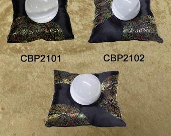 Crystal Ball/Skull Pillow - Black Brocade