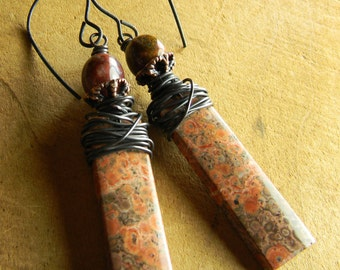Tribal Jewelry Earrings Red Orbicular Birds Eye Matched Jasper Stones Copper Wire Wrapped