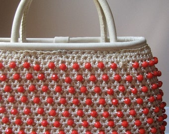 Vintage Beaded and Crocheted Handbag Purse