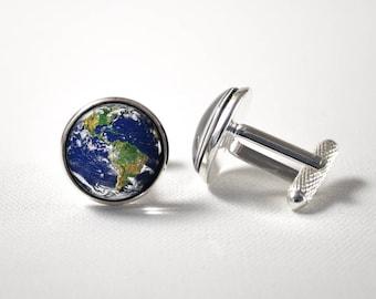 Earth Men Cuff links Planet Space gift Universe cufflinks Earth cufflinks Outer space jewelry Solar system Man jewellery Cosmic cufflinks